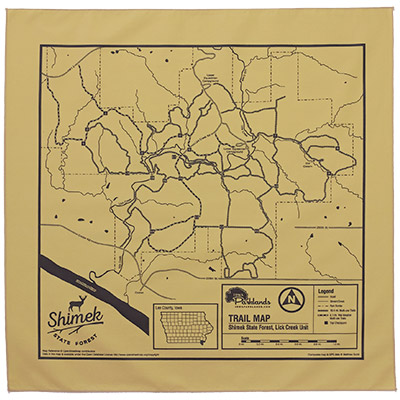 Shimek State Forest, Lick Creek Unit Trail Map Bandanna