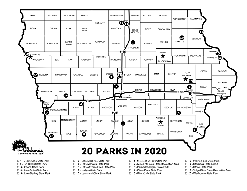 20 Parks in 2020 Map